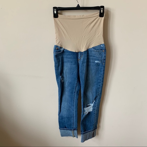 Joe's distressed cuffed ankle maternity jeans 7002